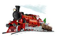 Vector Christmas card with cartoon Santa Express