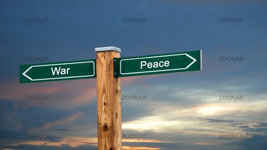 Street Sign to Peace versus War