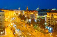 Kyiv Khreshatyk street twilight skyline