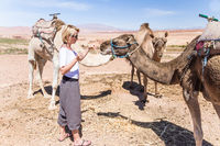 Young woman with a camels in Morocco.