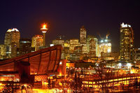CALGARY, ALBERTA, CANADA -JANUARY 18, 2010: The iconic Calgary Tower in Downtown Calgary, Alberta with it's flame lit