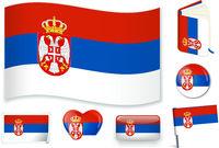 Serbian national flag vector illustration in several shapes.