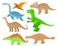 Dinosaurs flat icon set, cartoon style. Collection of objects with pterosaur, stegosaurus, triceratops, allosaurus, tyrannosaurus, apatosaurus, brontosaurus, ankylosaurus, plesiosaurus. Vector