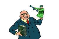 War propaganda. Soldier attacks. Politician with money