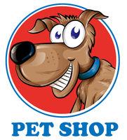 Dog pet shop mascot logo isolated on white background
