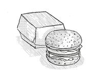Hamburger meal Cartoon Retro Drawing