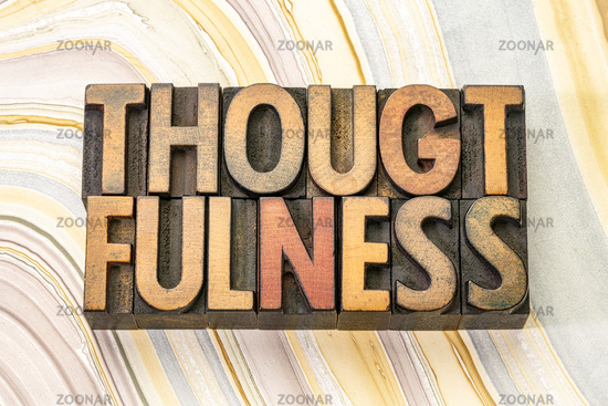 thoughtfulness word in wood type
