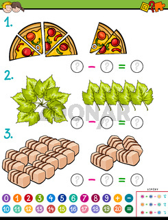 maths subtraction educational task for kids