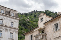 Church on hillside above the Old Town of Kotor in Montenegro