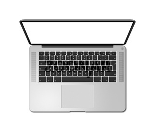 Open laptop top view with blank screen, isolated on white. 3D render