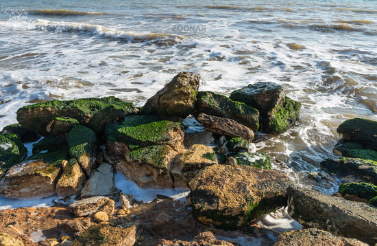 Stones at the edge of the sea