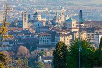 historic center of Bergamo seen from above