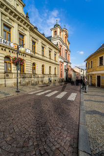 Streets of the old town. Kutna Hora is a town in the Central Bohemian Region of the Czech Republic.