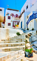 Old uphill street in Mykonos