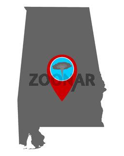 Karte von Alabama und Pin Tornadowarnung - Map of Alabama and pin tornado warning