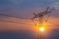 power transmission pylon in sunset