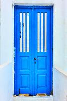 Door painted in blue
