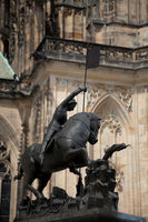 PRAGUE, CZECH REPUBLIC - MAY 21, 2009: Statue outside of the Prague Castle in the city of Prague