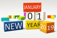 new year january thirst 2019 colorful building blocks