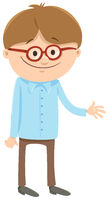 happy boy cartoon character with glasses
