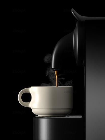 fresh coffee machine black side view