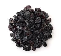 Top view of black raisins