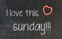 Blackboard with small red heart - I Love this sunday
