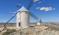 Energy, White wind mills for grinding wheat. Town of Consuegra in the province of Toledo, Spain