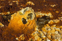 Relict of a spring mound with fluid and gas escape features, Dallol, Danakil depression, Ethiopia