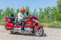 Motor biker Honda Goldwing making a drive through Hungary