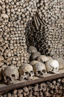 Human skulls and bones in ossuary Sedlec Kostnice