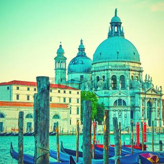 Gondolas and Santa Maria della Salute church