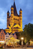 Great St. Martin Church and fish market in the evening, Cologne, Rhineland, Germany, Europe