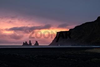 Sunset in Vik, Iceland