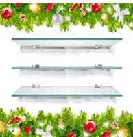Glasses Shelves With Christmas Border