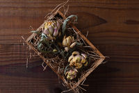 Dried Artichokes and leaves in a small wooden box with packing straw