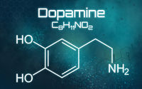 Chemical formula of Dopamine on a futuristic background