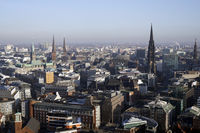 View from the church tower of the St. Michaelis church over Hamburg