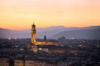 Ancient Florence cityscape and Palazzo Vecchio sunset view