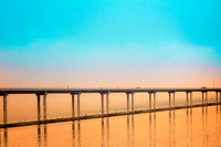 Hood Canal Bridge with Orange and Teal Sunset