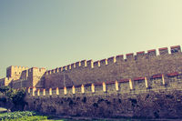 City walls of Constantinople in Istanbul, Turkey