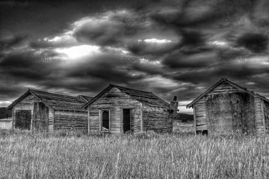 Abandoned farm housing in rural Anaconda, Montana United States