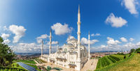Camlica Mosque in Istanbul, the biggest one in Turkey, panoramic view