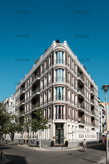 Corner building, modern but classic architecture  in residential area in Berlin