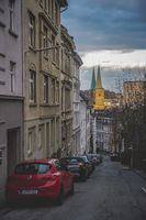One way street and steeples