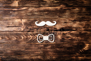 Fathers day concept, mustache and bow tie