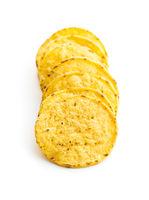 Round nacho chips. Yellow tortilla chips
