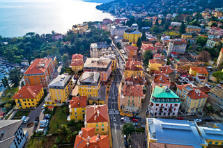 Main street of Opatija architecture aerial view
