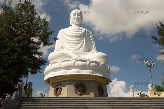 White Buddha Statue at Long Son Pagoda in Nha Trang,