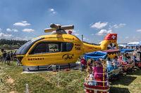 Inflatable helicopter at the event Flüügerchilbi in Beromünster, Lucerne, Switzerland, Europe